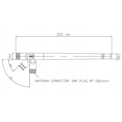2.4-2.5GHz 2dBi Anten,SMA Plug