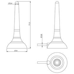 3G / 2G Mıknatıs Tabanlı Çubuk Anten, 3m RG174 Kablo - Thumbnail