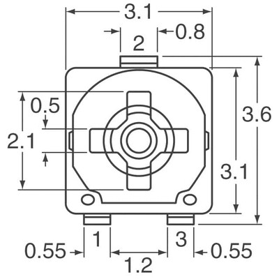4.7 kOhms 0.1W, 1/10W J Lead Surface Mount Trimmer Potentiometer Carbon 1 Turn Top Adjustment