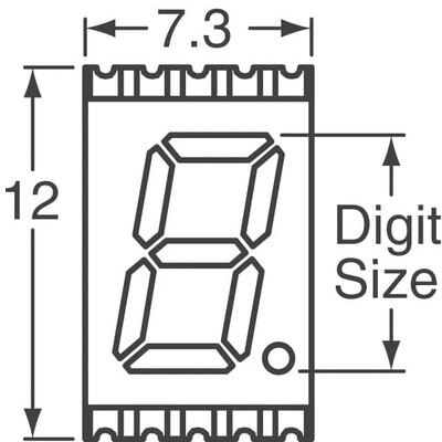 Display Modules - LED Character and Numeric Red 7-Segment 1 Character Common Cathode 2V 20mA 0.394