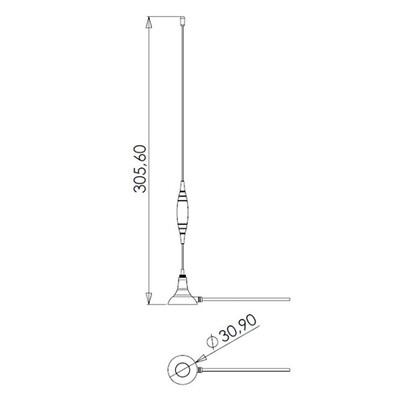 GSM / 3G Mıknatıs Tabanlı Çubuk Anten, 2.5m RG174 Kablo, Nikel