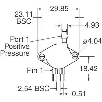 Pressure Sensor Absolute Male 4 SIP Module